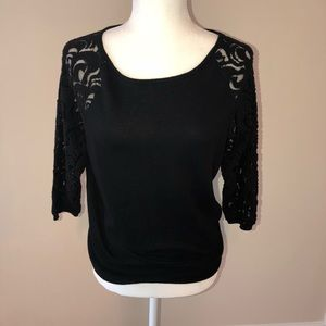 Ann Taylor black Sweater top with sheer sleeves